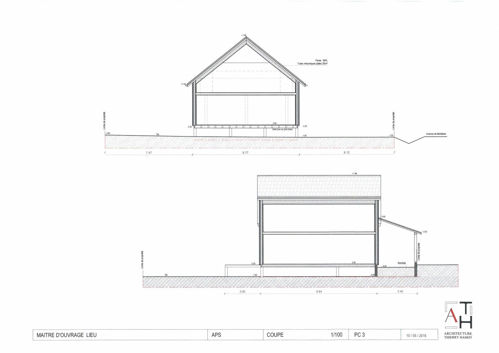 Architecte chalon sur saone buxy maitre d 39 oeuvre - Un plan en coupe du terrain et de la construction ...